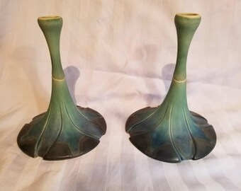 Newman Ceramic Works Signed Candlestick Pair