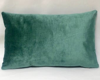 "11 x 20"" Teal/Turquoise Velvet Pillow Cover - Designer Fabric - Velvet Pillow Cover - Velvet Accent Pillow - Velvet Throw Pillow"