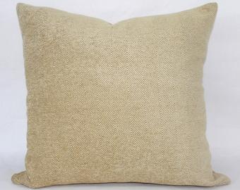 "20 x 20"" Gold Herringbone Chenille Mid Century Modern Pillow Cover - Designer Fabric Throw Pillow - Designer Accent Pillows"