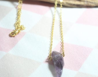 Natural amethyst break with gilded chain stone No. 6