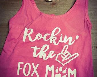 Rockin' the FOX Mom Pink Racer Back Tank Top