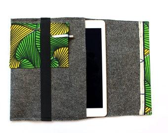Sturdy Ipad/tablet sleeve of African fabric and felt