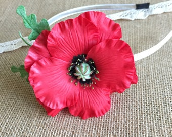baby headband poppies flower crown Poppy Tieback Red Tieback Photo Prop Hair Accessory Poppy headband Headband wildflowers party accessories
