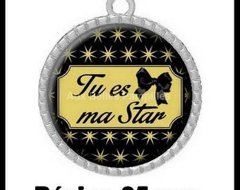 """Round Cabochon pendant 25 mm epoxy resin - """"You're my star"""" (977)"""