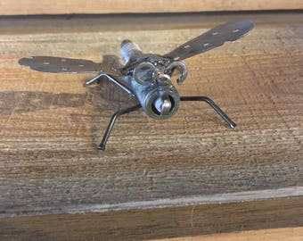 Dragon Fly Recycled Metal Sculpture with Spark Plug Free Shipping