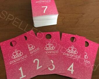 Facebook Live Sale Number Tag Cards Paparazzi Regular & Reversed - Set Of 100 - Pink Glitter