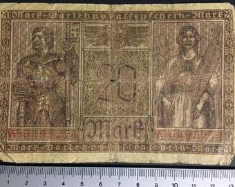 1 x Darlehenskassenschein - 20 Mark, Deutsches Reich from 1918