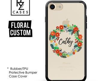 Personalized Case, Custom Phone Case, Floral Phone Case, iPhone 7 Case, iPhone 6s, Floral iPhone, iPhone 5, Rubber, Bumper Case
