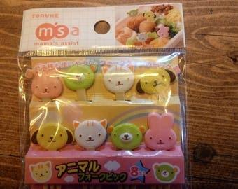 2 packs of Bento Adorable animal faces picks/forks. 2 packs of 8 animal picks/forks included!