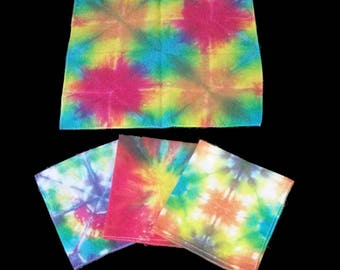 Unique Hand Tie-Dyed Rainbow Handkerchiefs