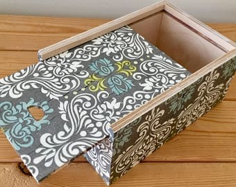 Wooden Slide Top Storage Box / Jewellery / Keepsake / Gift Box