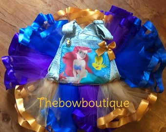 the little mermaid overall ribbon trimmed tutu set