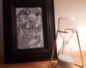 Ella Dog - Hand drawn, Framed, Black and White, Stylised Illustration, One of a Kind