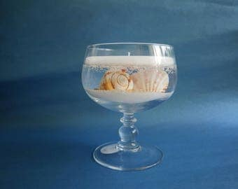 Clear Panel Beach Candle in Glass Holder