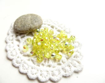 50 faceted beads 4mm Daffodil Czech Bohemian crystal