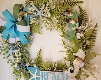 Beach Grapevine Wreath ~ Seahorse ~ Starfish ~ Fern