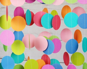 Rainbow Party Garland, Paper Garland, Birthday for Kids, Rainbow Colors, Backdrop, Streamers, 8 Feet Long, Birthday Decor, Sprinkle Party