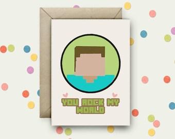 You Rock My World Pop Art A6 Blank Greeting Card & Envelope