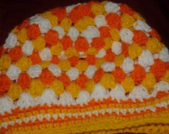 Candy corn chrocet hat ( granny style hat ,orange,white and yellow  )