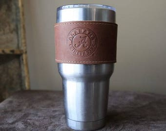 The Officially Licensed Crimson Tide Rocket City Leather Drink Cooler Wrap with Handle – for 30oz Yeti Rambler Tumbler