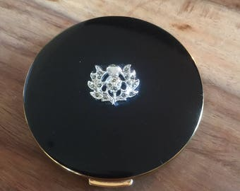 Lovely Rare Vintage Regent of London Powder Compact Marcasite Thistle on Black Enamel 1950 Collectible/Mirror/Handbag/Gift/Mothers Day