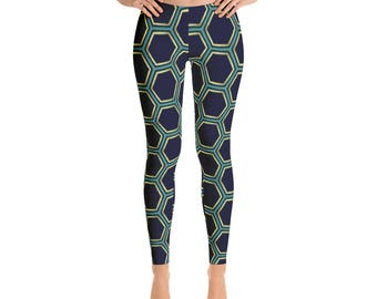 Geometric Hexagon Honeycomb Leggings by Dixie Cloth