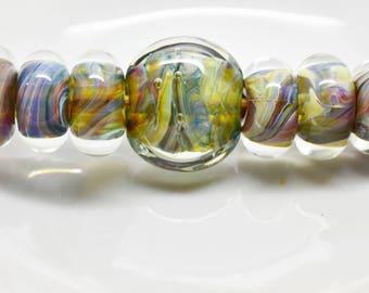 Handmade Lampwork Boro Beads - Set of 6 beads + 1 focal -  gray, blue, red 16mm & 23mm