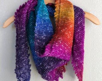 Handmade Knit by Hand Lace Scallop Edged Shawl Rainbow Wrap Blue Teal Orange Gold Fuchsia Purple Shawl Wrap Scarf