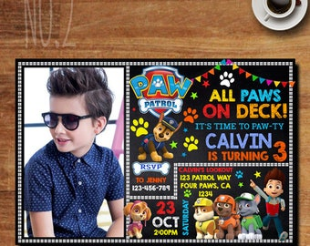 Paw Patrol Boy Invitation, Paw Patrol Invitation, Paw Patrol Birthday Party, Paw Patrol Party Invitations, Paw Patrol Invitation With Photo