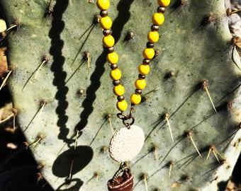 Mustard Diffuser Necklace