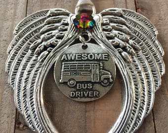 Awesome bus driver, School bus driver gift, bus driver angel, bus driver ornament. thank you to bus driver, bus driver christmas gift,