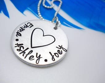 Mothers Personalized Necklace, family name necklace, Personalized kids name necklace, custom jewelry, Valentines gift for mom
