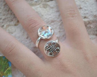 ring mother of Pearl abalone and cross