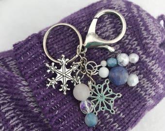 Bag Charm, Snowflake Charm, Beaded Keychain, Keychain, Winter Jewelry, Handbag Charm, Handbag Accessories, Christmas Gift, Gifts for Her