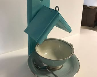 Teal Painted, Wood Framed, Tea Cup, Bird Feeder