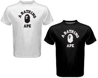 New A BATHING APE BAPE Logo - Custom t shirt S-2XL Black or White tees