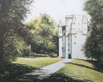 Craigievar Castle - print from an original artwork. By Scottish artist Robert J. Gould.