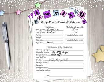 Baby Shower Games, Baby Predictions and Advice, Printable baby Shower Game, Digital Baby Shower Games