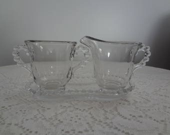 Candlewick Glass Cream and Sugar Set -Imperial Glass Co - Vintage Glass