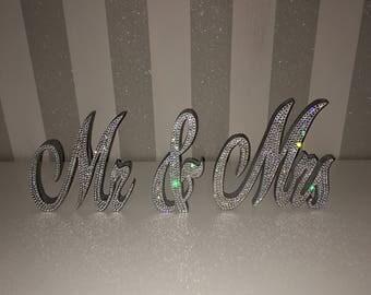 Swarovski® Crystal encrusted Mr & Mrs sign wedding decor bling rhinestone diamond diamanté silver shiny mirror designer chiq celebrity