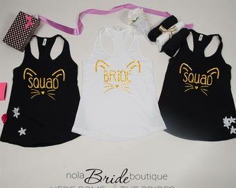Bridal party shirts, Bridesmaid gift, bridesmaid shirt, Bachelorette party shirts, Bride Squad, Bridesmaid cat bachelorette d25