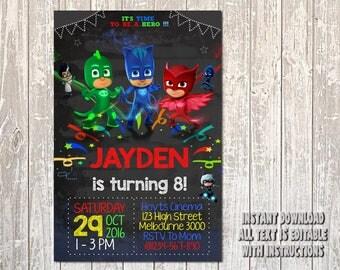 PJ Masks Invitation, PJ Masks Birthday, PJ Masks Party, pj masks card, pj masks printable, pj masks, pj, masks, Girl Invitation, Girl_BS064