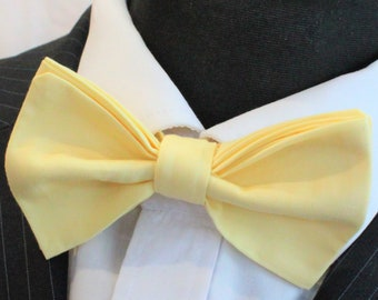Bow Tie. UK Made. YELLOW Cotton. Premium Quality. Pre-Tied.