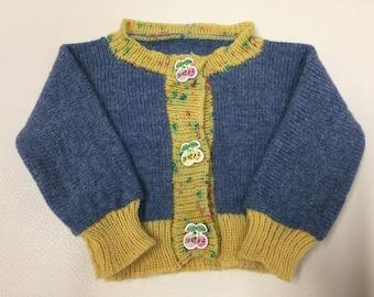 Knit baby sweater - blue Baby cardigan - Newborn cardigan - Hand knit cardigan - Knitted baby clothes - Baby knitwear