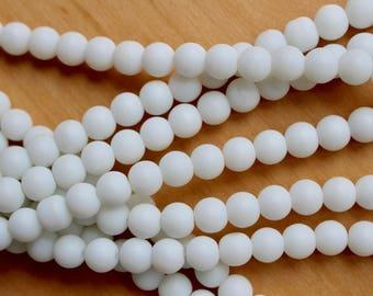 8mm White Jade beads, full strand, natural stone beads, round, 80051