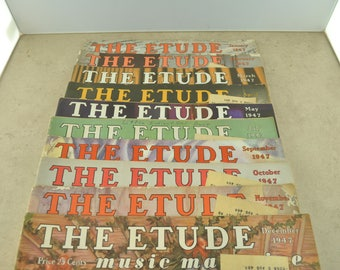 The Etude Music Magazine of 1947 - Quantity of 10