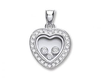 Sterling Silver Trilogy Floating Cubic Zirconia Heart Shaped Pendant
