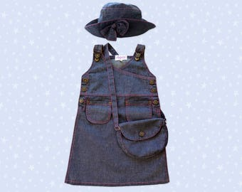 All kids clothing denim dress Jean Blue Hat and bag