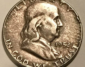 1952 Franklin 90 percent Silver Half Dollar in fine condition