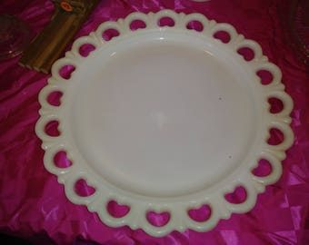 13 inch Milk Glass Heart Platter